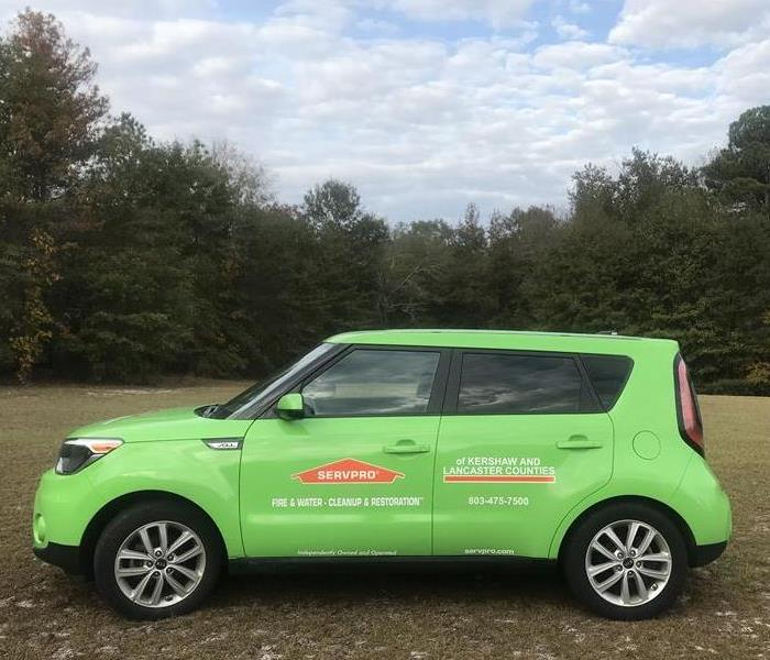 Our Kia Soul SERVPRO green marketing car